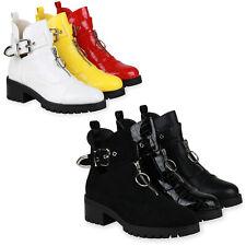 Damen Stiefeletten Ankle Boots Schnallen Zipper Blockabsatz 834886 Schuhe