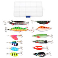 Lot 12 Fishing Spoon Lures Kit Spinner Hard Baits Freshwater Pike Salmon Bass