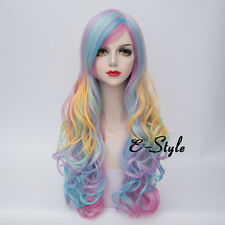 70CM Long Curly Rainbow Ombre Heat Resistant Cosplay Prom Party Wig Bangs +Cap