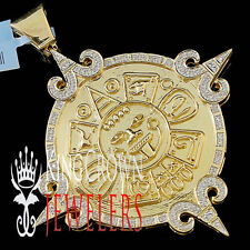Real Diamond Mayan Aztec Sun Calendar Medallion Pendant 10K Yellow Gold Finish