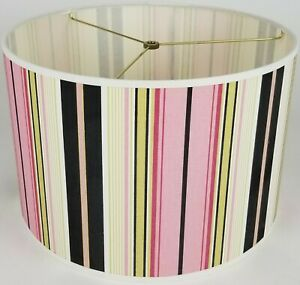 "NEW Drum Lamp Shade 15"" Dia 10"" H Taffy Stripes Pink Black Green Fabric"
