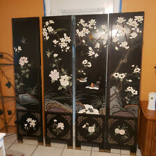 Room Divider Privacy Screen Asian Antique Dual Sided Lacquered Hand Painted Wood