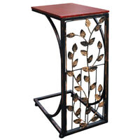 Etna Sofa Side End Table -Metal Leaf Design Base, Wood Look Top-C-Shaped TV Tray