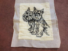 """Collectible Needlepoint Sampler """"Schnauzer Dogs"""" 13.5x11"""" Ready to Frame WOW"""