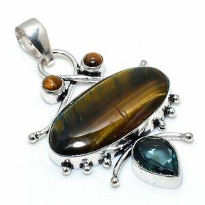 "Tiger Eye, Alexandrite Gemstone Ethnic Handmade Jewelry Pendant 2.40"" RL-17984"