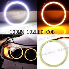 2pcs COB LED Angel Eyes Ring Light Drive Turn Signal White Amber Halo 100mm
