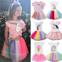 Kid Toddler Girl Unicorn Dress Outfit T-shirt Top Tulle Tutu Skirt Party Clothes