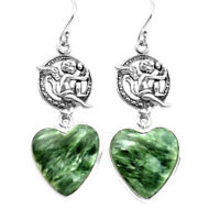 16.73cts Natural Green Seraphinite 925 Silver Cupid Angel Wings Earrings P72552