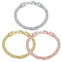Bold Oval Byzantine Hinged Bangle Bracelet 14K Yellow Gold PT Sterling Silver