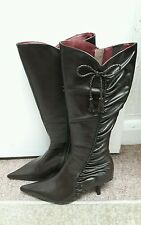 Brand new moda in pelle size 38/5 brown leather long boots low heel