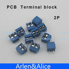 100 pcs 2 Pin Screw blue PCB Terminal Block Connector 5mm Pitch