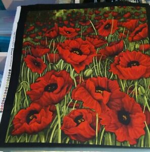 Poppy Poetry!  Red or White Panels, 2 prints on each.  Quilting Cotton Fabric