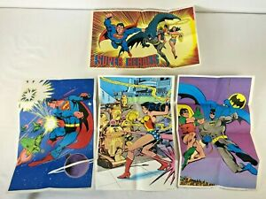 Cocoa Fruity Pebbles Set of 4 DC Superheroes Poster Cereal Premium 1979 Batman