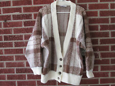 Vintage 80s 90s Sweater Personal Size Extra Large XL Cardigan Plaid Brown