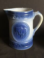 Antique Blue and White Salt Glazed Stoneware Grazing Cows Pitcher