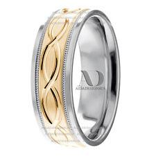 10K Two Tone Gold Men's Celtic Infinity Knot Milgrain Wedding Band Ring 7mm Wide