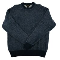 Neiman Marcus Cashmere Pullover Sweater Mens Large Blue Gray Crew Neck VTG *FLAW