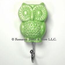 Green Owl Wall Hook, Bathroom Towel Holder, Jewelry Hanger, Key Hook #H07