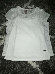 Girls justice floral lace layered top size 14/16 new white