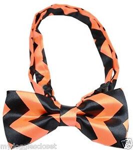 "Halloween Dog Collar Bow Tie  - One size Chevron Bowtie Costume 9-16"" Neck"