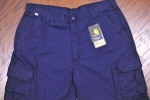 NWT Carhartt FRB240 Flame-Resistant Canvas Cargo Pants Dark Navy Men's 40x32