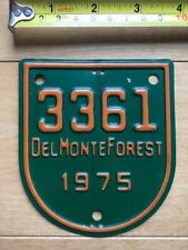 1975 Del Monte Forest California license plate attachment