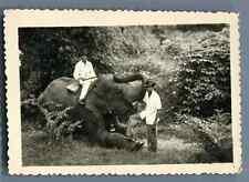 Indochine, Scène à la chasse  Vintage silver print.  Tirage argentique d'