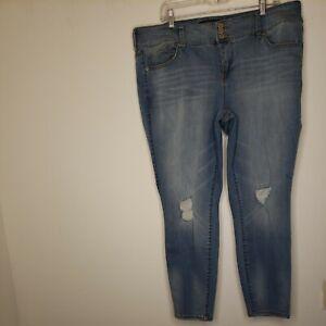 Torrid Women's Denim Blue Jeans Size 22R Plus Size Blue Distressed Jeggings