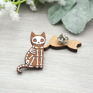 Skeleton Cat Pin Badge - Hand Painted