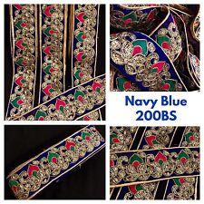 9 metros de Terciopelo azul lentejuelas de oro recortar frontera Sari Bordado Coser En Vestido Encaje