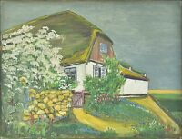 North German Kate in Spring - from Monogram 1927 - Old Oil Painting - Denmark