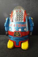 BLUE Mr Atomic Battery Operated tin robot toy MTH Cragstan Yonezawa Japan MIB