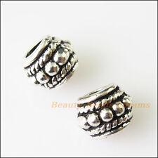 10Pcs Antiqued Silver Barrel Spacer Beads fit Charm Bracelets 8mm