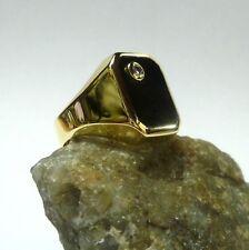 Gran Anillo Macizo en 585/14k 60 (19,1 Mm Ø) Ónix Diamante Oro Amarillo