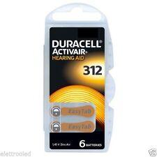 6 Pile per apparecchi protesi acustiche DURACELL ACTIVAIR mod. 312 marroni PR41