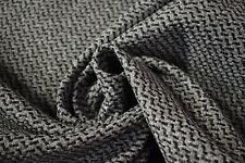 """Vintage Gray Black Canvas Tweed Fabric 55""""W Seat Upholstery Church Pew Auto"""