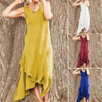 ZANZEA Women Summer Sleeveless Holiday Beach Dress Ruffle Hem Party Maxi Dresses