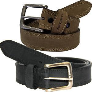 "Carhartt Leather Belt Men's Detroit 1-3/8"" Triple Stitching Belts Brown or Black"