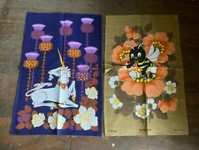 More details for vintage collectable save the children bown yellow & blue & purple tea towels new