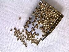 Vtg 100 GOLD HOLLOW BRASS METAL SPACER BEADS  3mm #081518n
