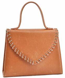 Authentic YVES SAINT LAURENT Hand Bag Leather Brown D2630