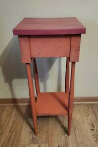 Vintage Solid Wood Plant Stand Side Table 2 Tier Primitive Red