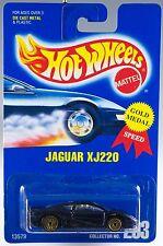 Hot Wheels No. 203 Jaguar XJ220 Blue w/Gold UH's Blue Card New On Card