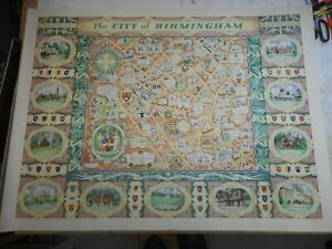 100% ORIGINAL LARGE CITY OF BIRMINGHAM PICTORIAL MAP BY W H PRICE C1949 VGC