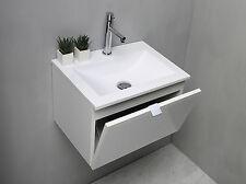 Mobile bagno sospeso cm 50 con lavabo lavello lavamano in mineralmarmo opaco