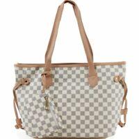 Ladies Checkered Print Pattern Beige Colour Shoulder Tote Bag Women Handbag 3425