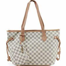 635cec9bfa New Ladies Checkered Print Pattern Beige Colour Shoulder Tote Bag Women  Hand Bag