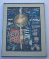 O.M SIGNED 1970'S  PAINTING ABSTRACT NON OBJECTIVE COLORFUL VNTG  EXPRESSIONISM