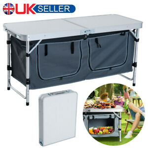 Portable Folding Camping Picnic Table Outdoor BBQ Desk Storage Garden Party UK