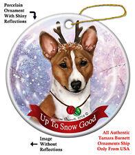 Basenji Dog Christmas Holiday Ornament Up To Snow Good